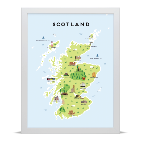 Place in Print Pepper Pot Studios Scotland Illustrated Map Art Print White Frame