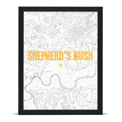 Place in Print Shepherds Bush Contours Gold Art Print Black Frame