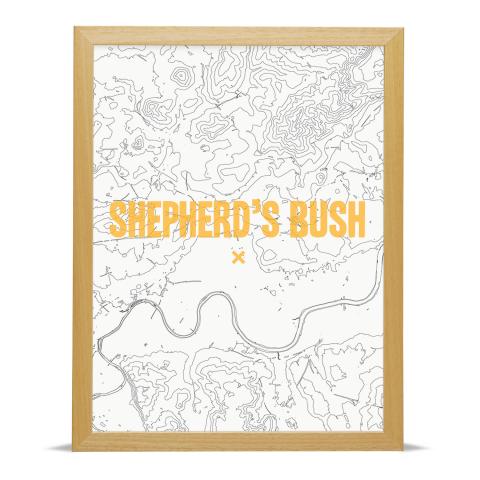 Place in Print Shepherds Bush Contours Gold Art Print Wood Frame