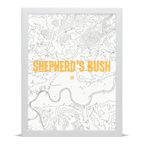 Place in Print Shepherds Bush Contours Gold Art Print White Frame