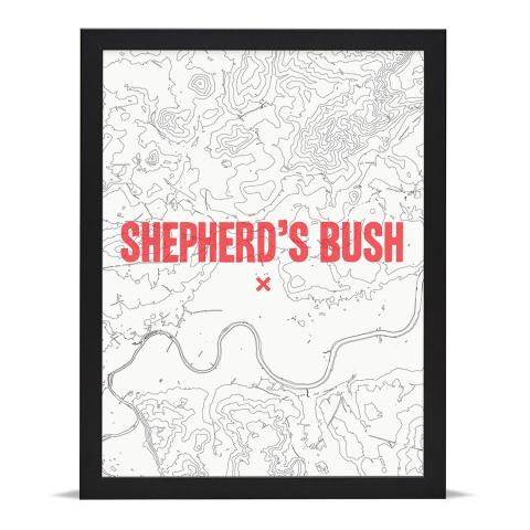 Place in Print Shepherds Bush Contours Red Art Print Black Frame
