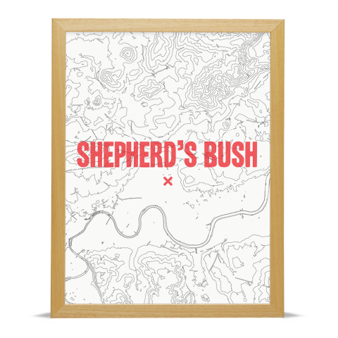 Place in Print Shepherds Bush Contours Red Art Print Wood Frame