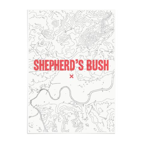 Place in Print Shepherds Bush Contours Red Art Print Unframed