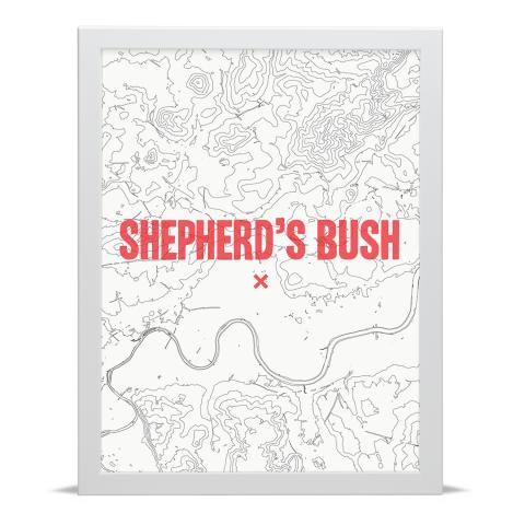 Place in Print Shepherds Bush Contours Red Art Print White Frame