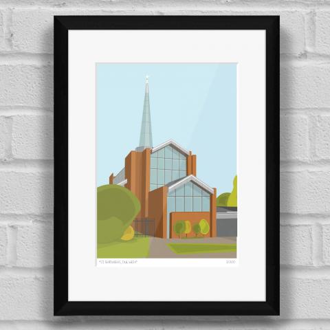 St Barnabas Church Dulwich Art Print Black Frame