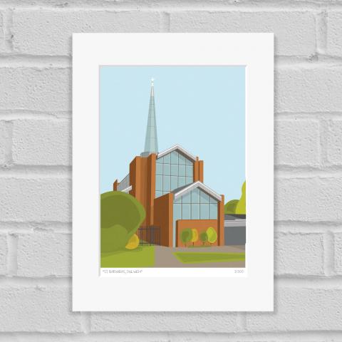 St Barnabas Church Dulwich Art Print Mounted