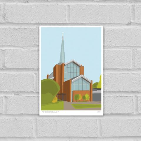 St Barnabas Church Dulwich Art Print Unframed