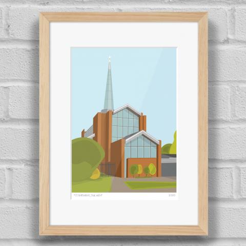 St Barnabas Church Dulwich Art Print Wood Frame