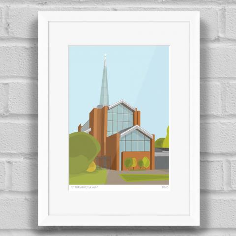 St Barnabas Church Dulwich Art Print White Frame