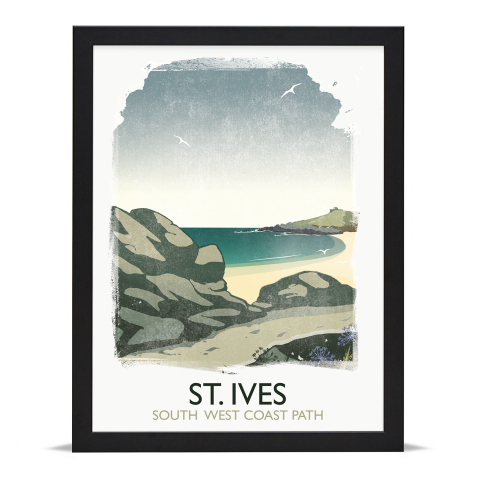 Place in Print Rick Smith St Ives Travel Poster Art Print 30x40cm Black Frame
