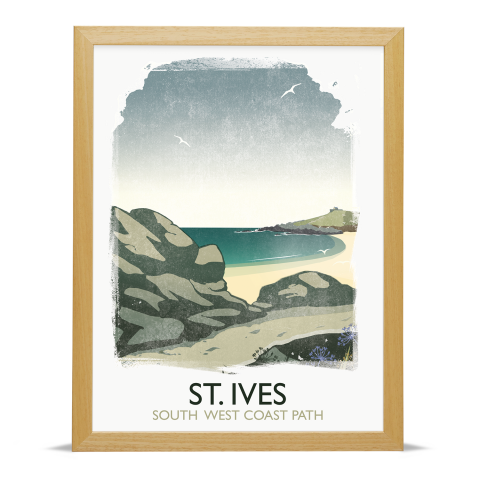 Place in Print Rick Smith St Ives Travel Poster Art Print 30x40cm Wood Frame