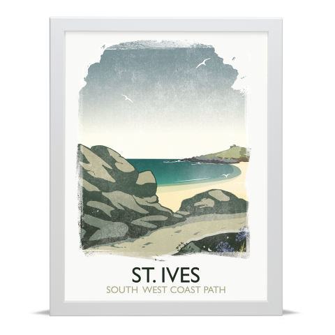 Place in Print Rick Smith St Ives Travel Poster Art Print 30x40cm White Frame