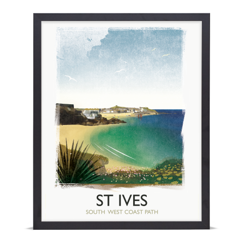 Place in Print Rick Smith St Ives Travel Poster Art Print 40x50cm Black Frame
