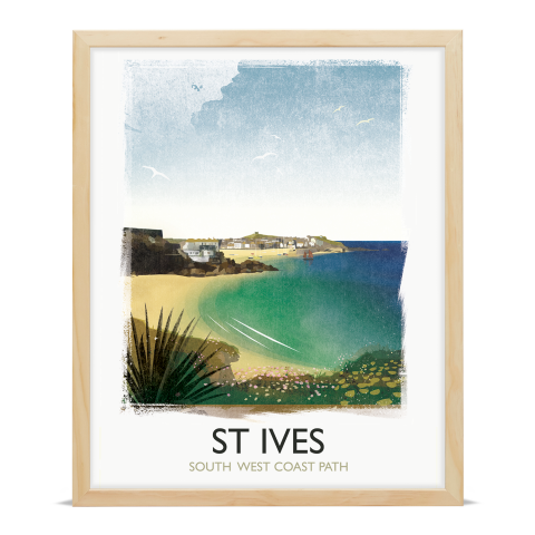 Place in Print Rick Smith St Ives Travel Poster Art Print 40x50cm Wood Frame
