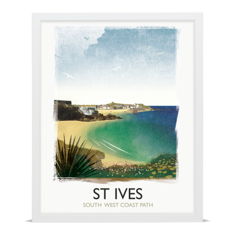 Place in Print Rick Smith St Ives Travel Poster Art Print 40x50cm White Frame