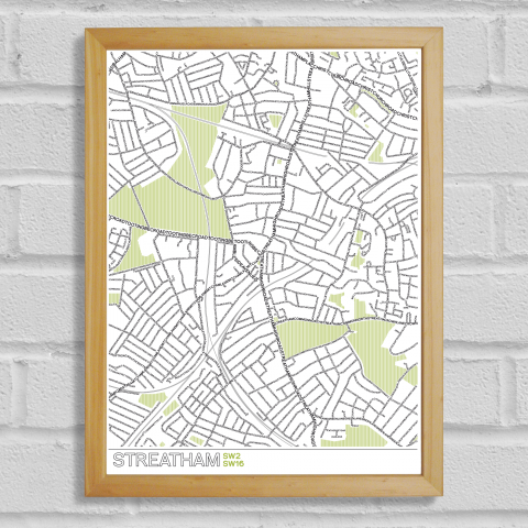 Place in Print Streatham Typographic Map Poster Print Wood Frame