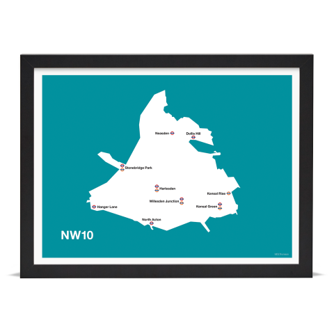 Place in Print MDL Thomson NW10 Postcode Map Teal Art Print Black Frame