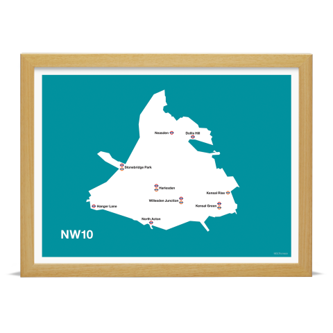 Place in Print MDL Thomson NW10 Postcode Map Teal Art Print Wood Frame