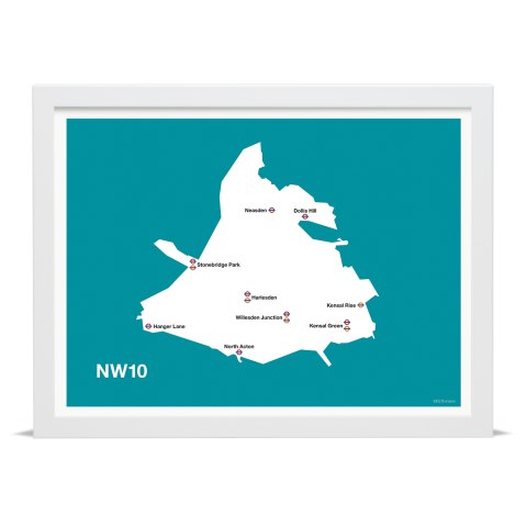 Place in Print MDL Thomson NW10 Postcode Map Teal Art Print White Frame