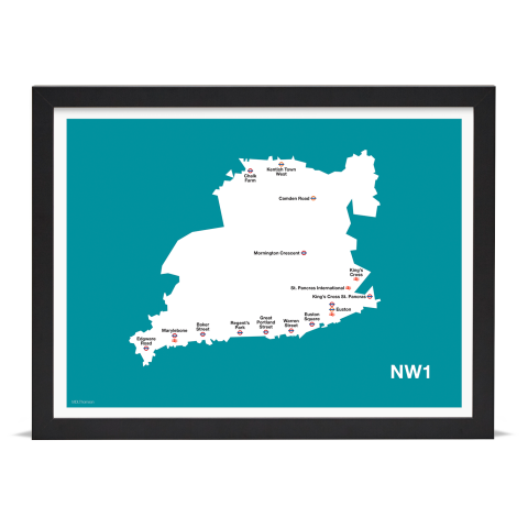 Place in Print MDL Thomson NW1 Postcode Map Teal Art Print Black Frame
