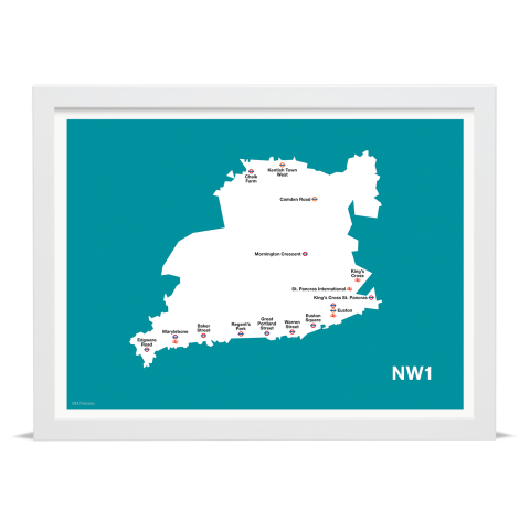 Place in Print MDL Thomson NW1 Postcode Map Teal Art Print White Frame