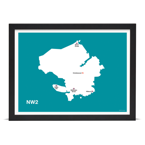 Place in Print MDL Thomson NW2 Postcode Map Teal Art Print Black Frame