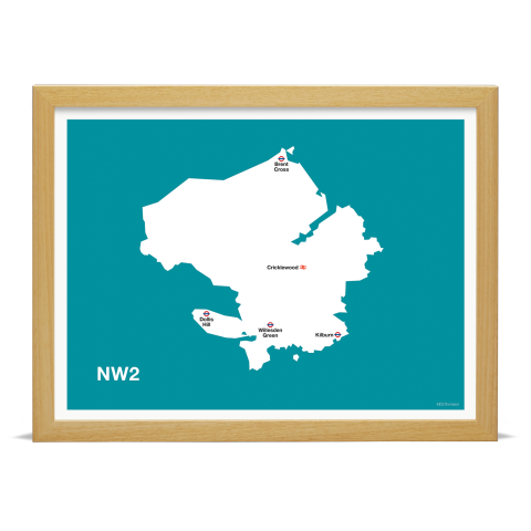 Place in Print MDL Thomson NW2 Postcode Map Teal Art Print Wood Frame