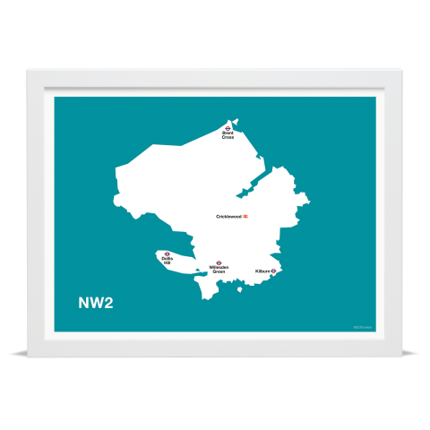 Place in Print MDL Thomson NW2 Postcode Map Teal Art Print White Frame