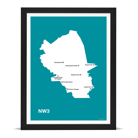 Place in Print MDL Thomson NW3 Postcode Map Teal Art Print Black Frame