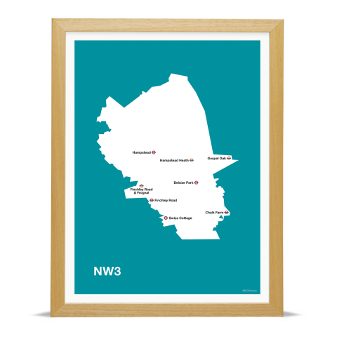 Place in Print MDL Thomson NW3 Postcode Map Teal Art Print Wood Frame