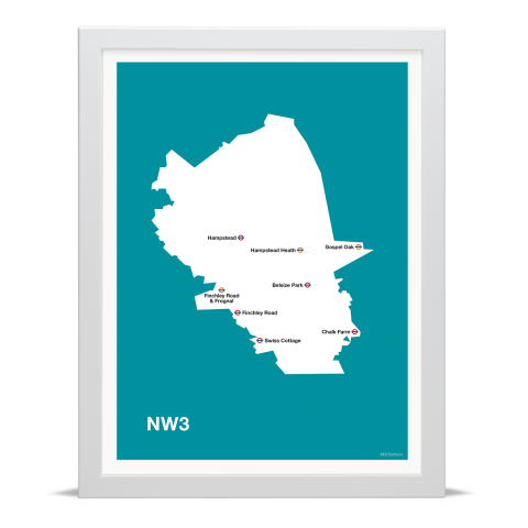 Place in Print MDL Thomson NW3 Postcode Map Teal Art Print White Frame