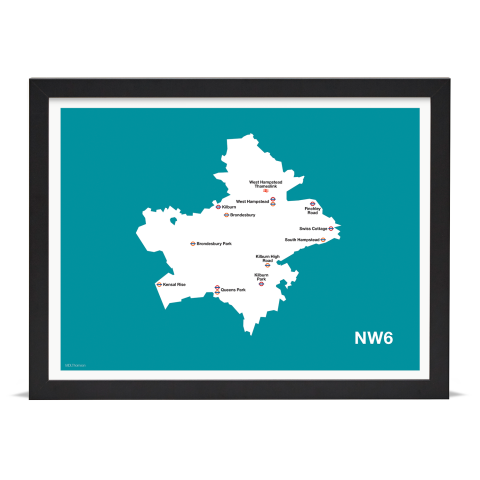 Place in Print MDL Thomson NW6 Postcode Map Teal Art Print Black Frame