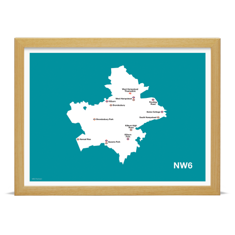 Place in Print MDL Thomson NW6 Postcode Map Teal Art Print Wood Frame