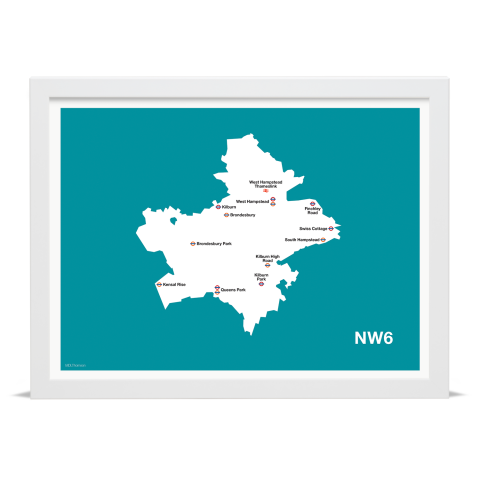 Place in Print MDL Thomson NW6 Postcode Map Teal Art Print White Frame