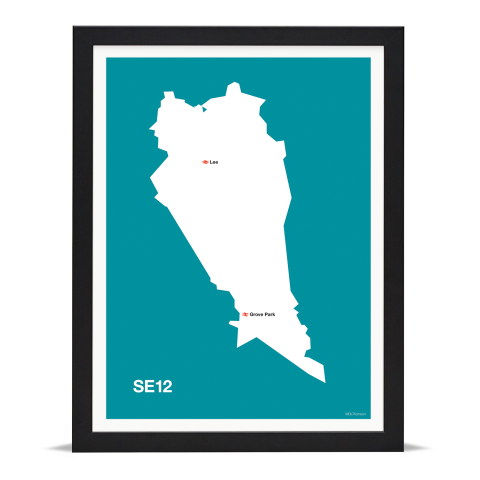 Place in Print MDL Thomson SE12 Postcode Map Teal Art Print Black Frame