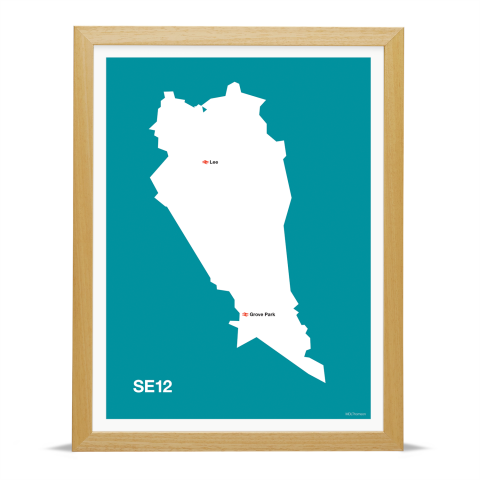 Place in Print MDL Thomson SE12 Postcode Map Teal Art Print Wood Frame