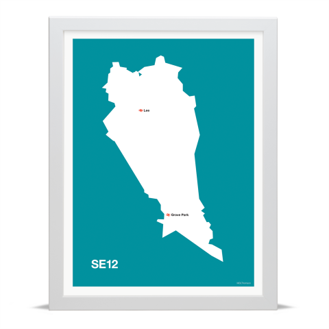 Place in Print MDL Thomson SE12 Postcode Map Teal Art Print White Frame