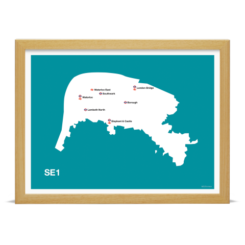 Place in Print MDL Thomson SE1 Postcode Map Teal Art Print Wood Frame