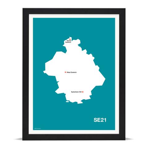 Place in Print MDL Thomson SE21 Postcode Map Teal Art Print Black Frame