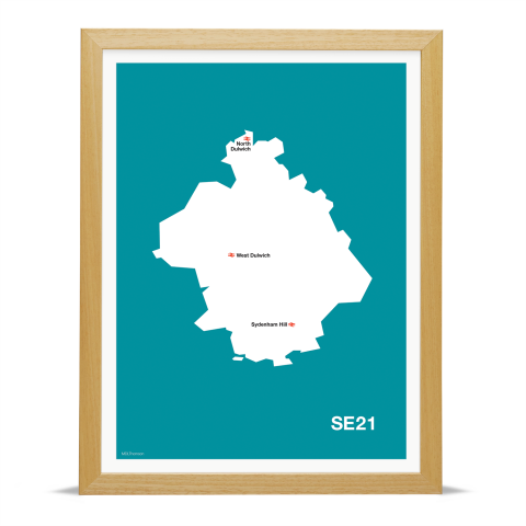 Place in Print MDL Thomson SE21 Postcode Map Teal Art Print Wood Frame