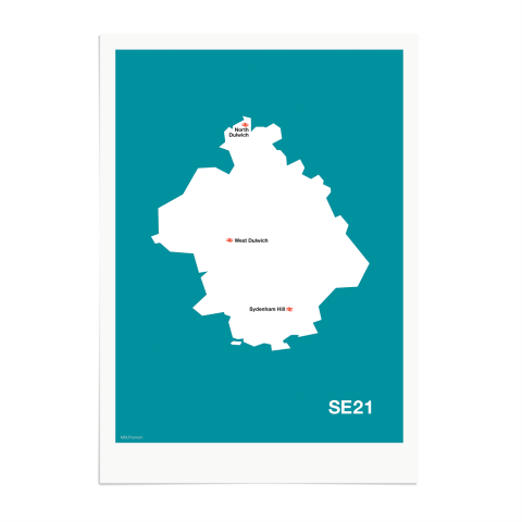 Place in Print MDL Thomson SE21 Postcode Map Teal Art Print Unframed