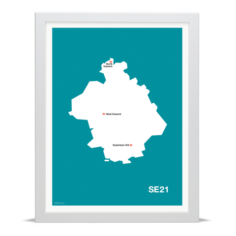 Place in Print MDL Thomson SE21 Postcode Map Teal Art Print White Frame