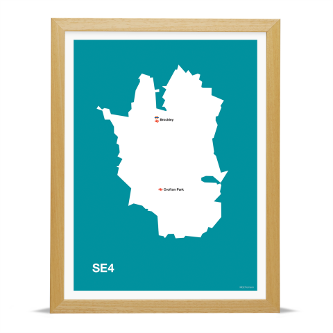 Place in Print MDL Thomson SE4 Postcode Map Teal Art Print Wood Frame