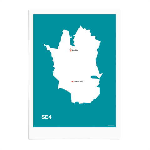Place in Print MDL Thomson SE4 Postcode Map Teal Art Print Unframed