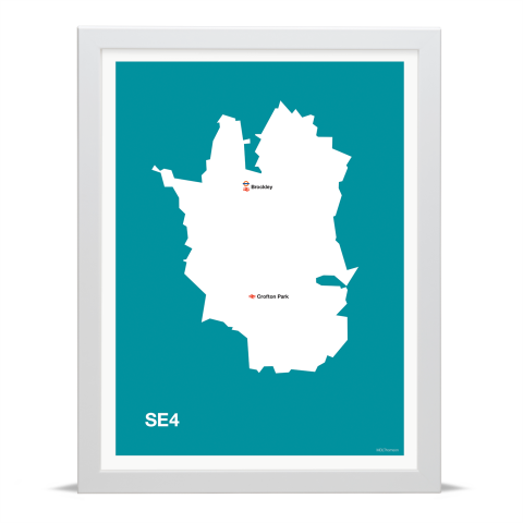 Place in Print MDL Thomson SE4 Postcode Map Teal Art Print White Frame