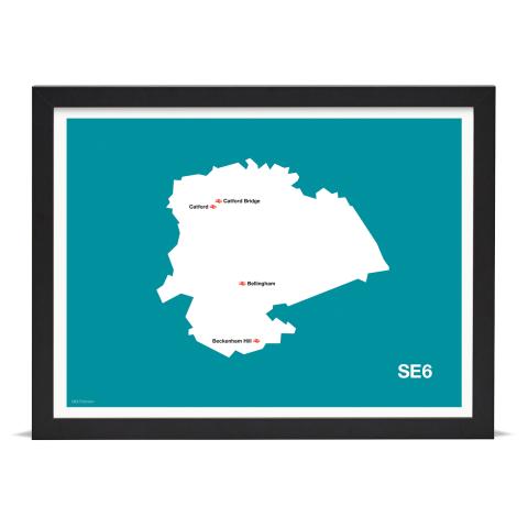 Place in Print MDL Thomson SE6 Postcode Map Teal Art Print Black Frame