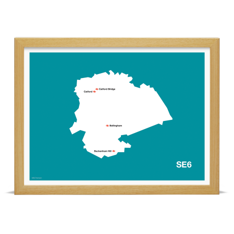 Place in Print MDL Thomson SE6 Postcode Map Teal Art Print Wood Frame