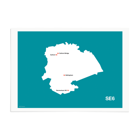 Place in Print MDL Thomson SE6 Postcode Map Teal Art Print Unframed