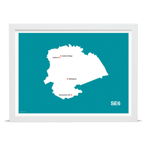 Place in Print MDL Thomson SE6 Postcode Map Teal Art Print White Frame