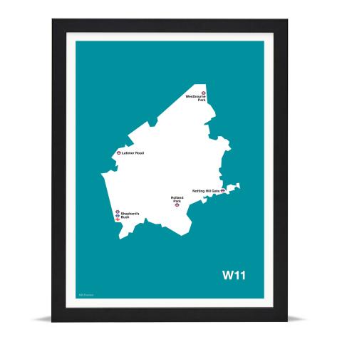 Place in Print MDL Thomson W11 Postcode Map Teal Art Print Black Frame